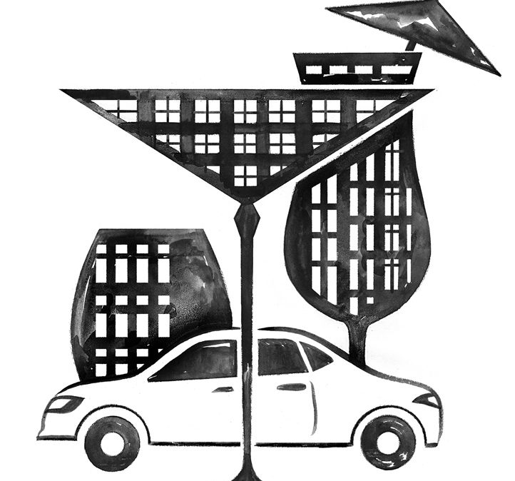 Car and buildings shaped like drink glasses