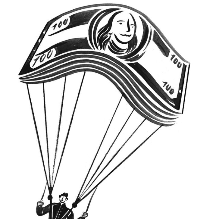 Man attached to a money parachute